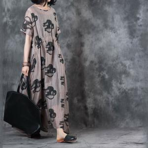 Abstract Printing Belted Empire Waist Dress Over 50 Style Casual Maxi Dress