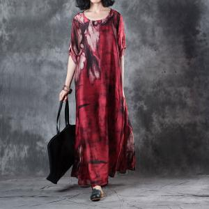Beautiful Printing Silk Satin Red Dress Vintage Maxi Dress for Senior Woman
