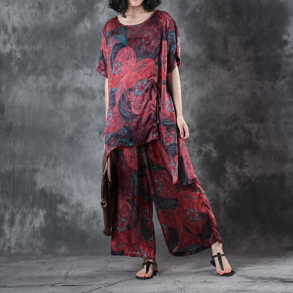 Silky Asymmetrical Plus Size Tunic with Red Wide Leg Pants