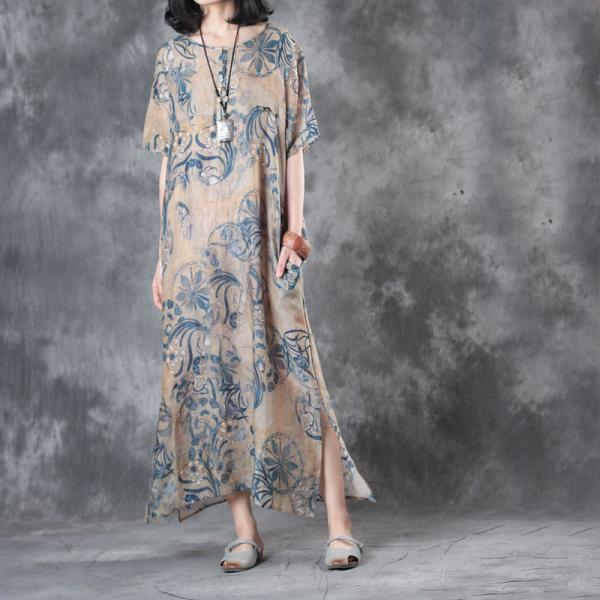 Chinese Printing Short Sleeve Dress Vintage Loose Linen Dress