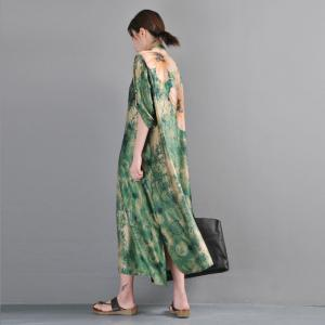 Over 50 Style Printed Green Dress Loose Vintage Clothing
