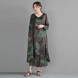 V-Neck Green Flowers Long Blouse with Silk Loose Flowy Pants