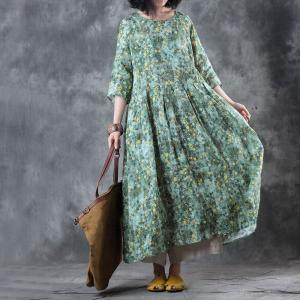 Loose-Fitting Green Floral Dress Linen Empire Waist Dress