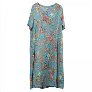 Birds and Butterfly Prints Summer Clothing Blue Beautiful Dress