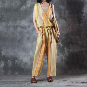Youthful Yellow Striped Linen Jumpsuits V-Neck Sleeveless Summer Overalls
