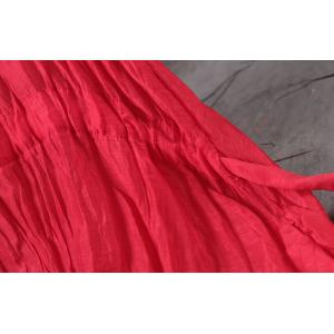 Silk Linen Belted Red Dress Loose Empire Waist Dress