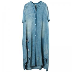 Asymmetrical Magpie Embroidered Dress Loose Long Denim Cardigan