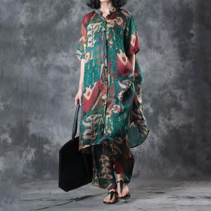 Abstract Printings Long Designer Blouse with Silk Satin Wide Leg Trousers