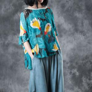 Beautiful Flowers Prints Knitwear Linen Oversized T-shirt