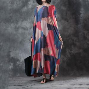 Beautiful Color Block Silky Plus Size Maxi Dress Short Sleeve Kaftan Dress