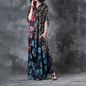 Vintage Prints Draped Maxi Dress Asymmetrical Beautiful Dress for Senior Woman