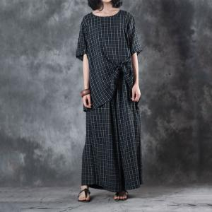 Ladylike Knotted Checkered Blouse with Black Wide Leg Pants