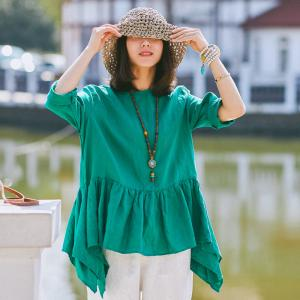 Simple Design Fishtail Hem Linen Blouse Loose Ladies Shirt