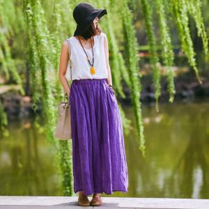 Solid Color Linen Maxi Skirt Summer Flare A-Line Skirt
