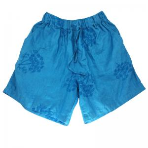 Beach Style Flowers Embroidered Shorts Linen Womans Shorts