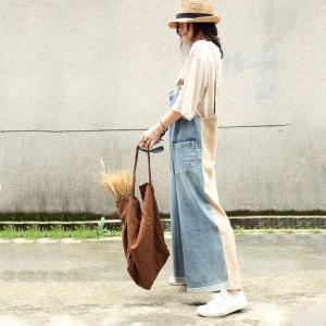 Contrast Colors Loose Wide Leg Jumpsuits Woman Denim Dungarees