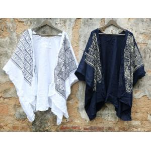 Bat Sleeves Ethnic Printing Cardigan Loose Cotton Linen Folk Outerwear
