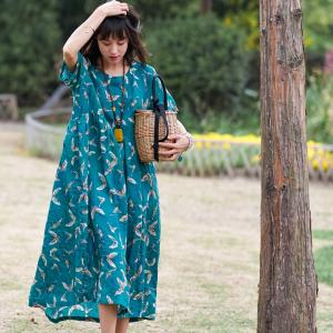 Butterfly Printings Linen Empire Waist Dress Holiday Fit and Flare Dress