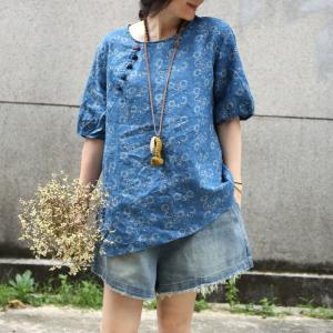 Summer Fashion Linen Vintage Blouse Chinese Button Ladies Shirt