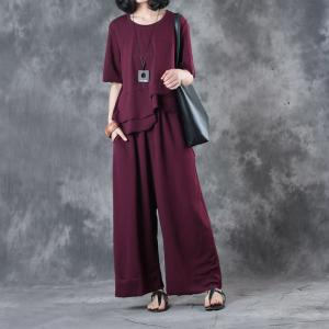 Loose-Fitting Overlay Asymmetrical Top with Plain Wide Leg Pants