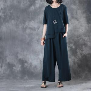 Solid Color Loose Summer Top with Baggy Trousers