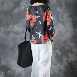 Over50 Style Flowers Printing Blouse Lace Up Black Kimono