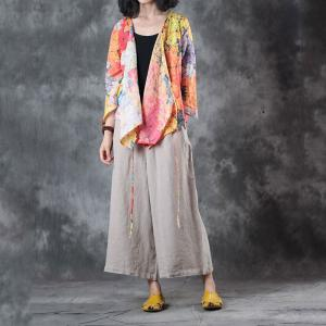V-Neck Belted Short Cardigan Womans Colorful Shirt
