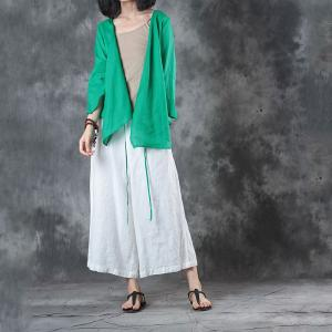 Easy-Matching Long Sleeve Linen Blouse Loose Green Cardigan