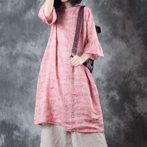 Girlish Trumpet Sleeve Long Blouse Beautiful Pink Short Dress