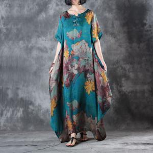 Retro Flowers Blue Fit and Flare Dress Beautiful Kaftan Dress