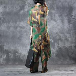 Silk Satin Trumpet Flowers Long Blouse with Green Flowy Pants