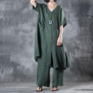Vertical Striped Straight Pockets Long Shirt with Silky Casual Trousers