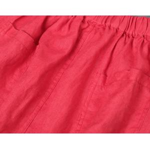 Simple Design Loose Red Harem Pants Womans Linen Trousers