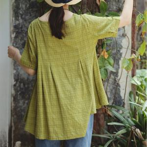 Simple Design Loose Cotton Linen T-shirt Green Casual Tee