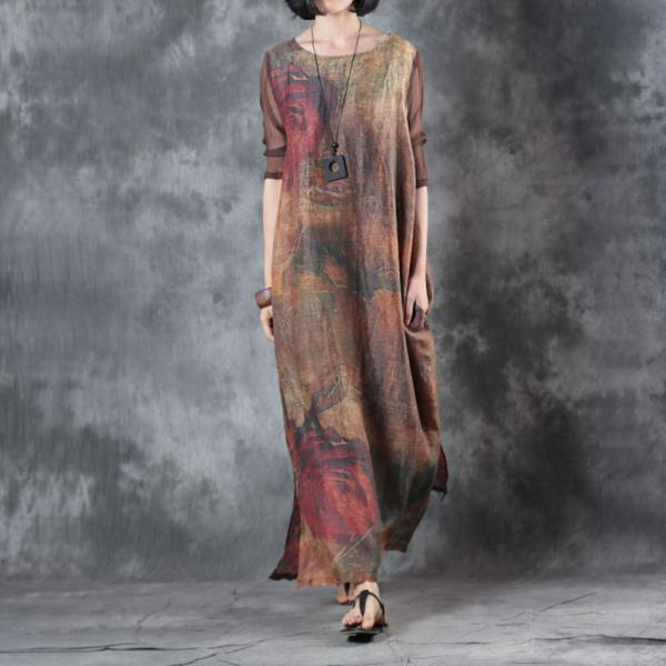 Silk Sleeve Rose Printing Linen Dress Loose Shift Dress