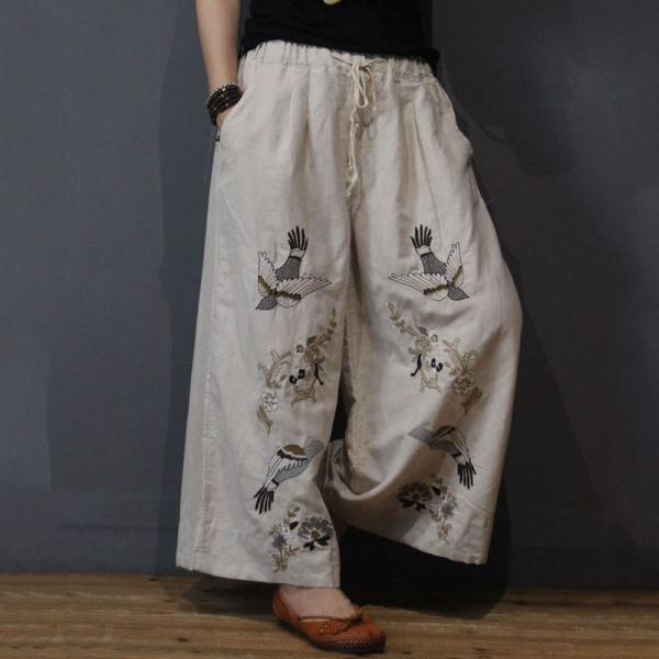 Beautiful Birds Embroidered Pants Cotton Linen Wide Leg Trousers