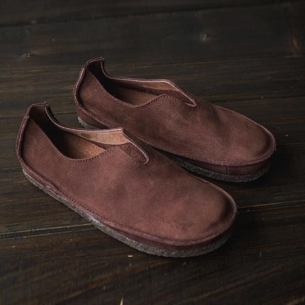 Vintage Pure Handmade Cowhide Flats Genuine  Leather Moccasins