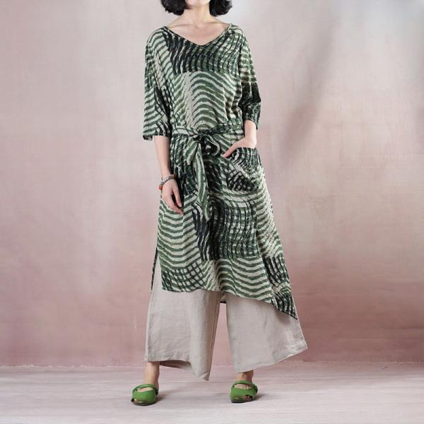 Green Stripes Oversized Shirt Dress Belted Linen  Knee Length Dress