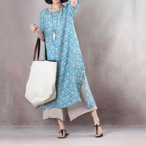 Summer Fashion Blue Dotted Dress Linen Casual Dress