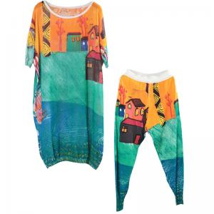 Abstract Printing Plus Size Linen Knitwear with Relaxed Fit Pants