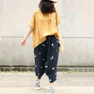 Cotton Linen Embroidered Trousers Womans Summer Harem Pants