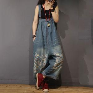 Soft Denim Floral Embroidered Jumpsuits Summer Wide Leg Jeans