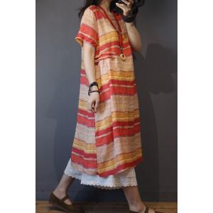 Colorful Striped Knee Length Dress Summer Linen Holiday Short Dress
