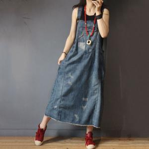 Street Style Patch Pocket Ripped Jean Dress Denim Oversized Jumper Dress