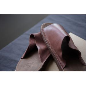 Simple Design Cowhide Leather Flats Plain Womans Slippers