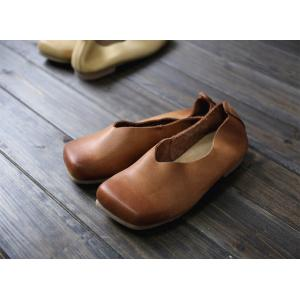 Square Toe Soft Leather Flats Plain Calf Slip-On