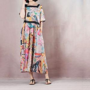 Abstract Printing Colorful Empire Waist Dress Summer Short Sleeve Dress