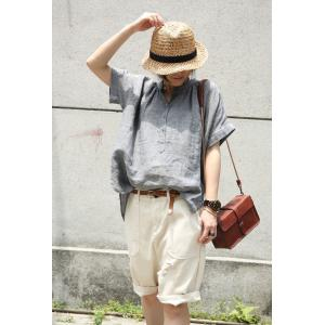 Solid Color Stand Collar Casual Blouse Linen Oversized Shirt