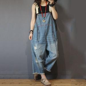 Unique Design Distressed Denim Jumpsuits Plus Size Fashion Jean