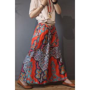 Totem Prints Cotton Linen Folk Trousers Summer Red Wide Leg Pants
